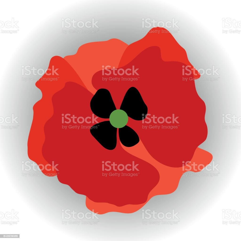 Red Poppy vector art illustration
