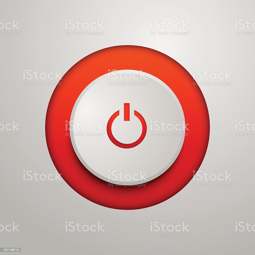 Red power button vector art illustration