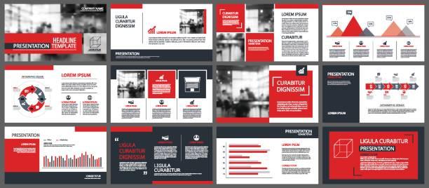 roten präsentation vorlagen und infografiken elemente hintergrund. verwenden sie für den jährlichen geschäftsbericht, flyer, corporate marketing, broschüre, werbung, broschüre, modernen stil. - zeitschrift grafiken stock-grafiken, -clipart, -cartoons und -symbole