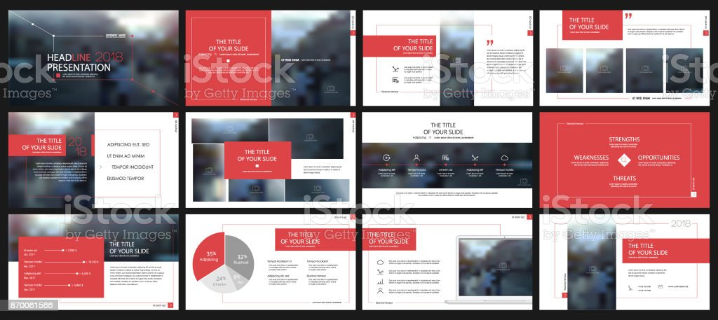 Red presentation templates elements on a white background. vector art illustration