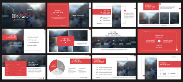 red presentation templates elements on a white background. - brochure templates stock illustrations, clip art, cartoons, & icons
