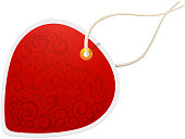 Decorative red price tag with heart in background. See also: