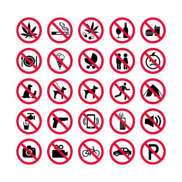 rot verbot symbole festgelegt. verbotsschilder. verbotene zeichen symbole. rote warnung zeichen satz - ausstoßen stock-grafiken, -clipart, -cartoons und -symbole