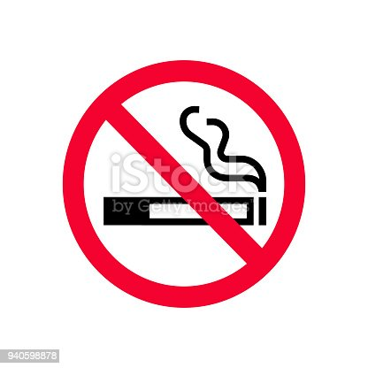 Red prohibition no smoking sign. Forbidden sign don't smoke. Do not smoke sign