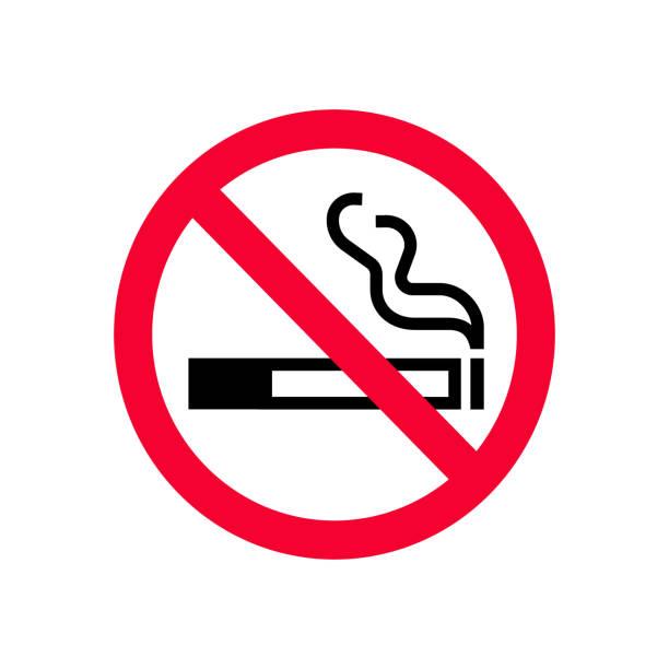 빨간색 금지 금연 서명. 금지 기호 담배 안 피워. 기호를 연기 하지 않습니다 - prohibition stock illustrations