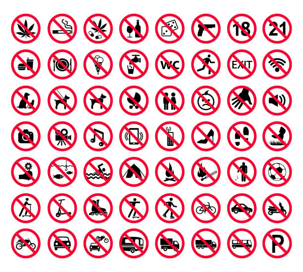 Red prohibition sign set. Forbidden signs collection Red prohibition sign set. Forbidden signs collection exclusion stock illustrations