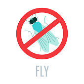 Stop fly sign. Anti pest icon with an insect silhouette. Red prohibition warning symbol. Perfect for exterminator service companies. Vector illustration.
