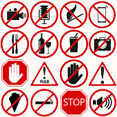 Red prohibition vector symbols and signs set. Able to be changed in size or scale. Vector
