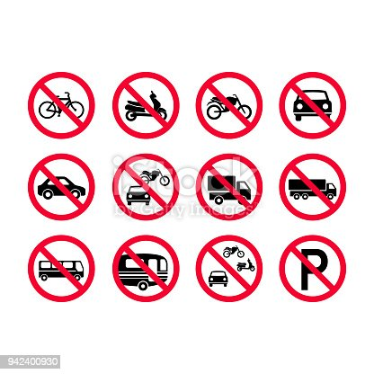 istock Red prohibition vehicles sign set. No motor vehicles, no bicycles, no automobiles. Trucks, busses, camper vans, scooters, motorcycles not allowed 942400930
