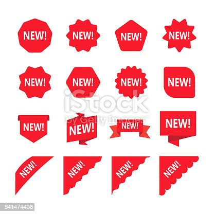 Red promotion labels with word new. Set of new sticker. Vector illustration. Isolated on white background