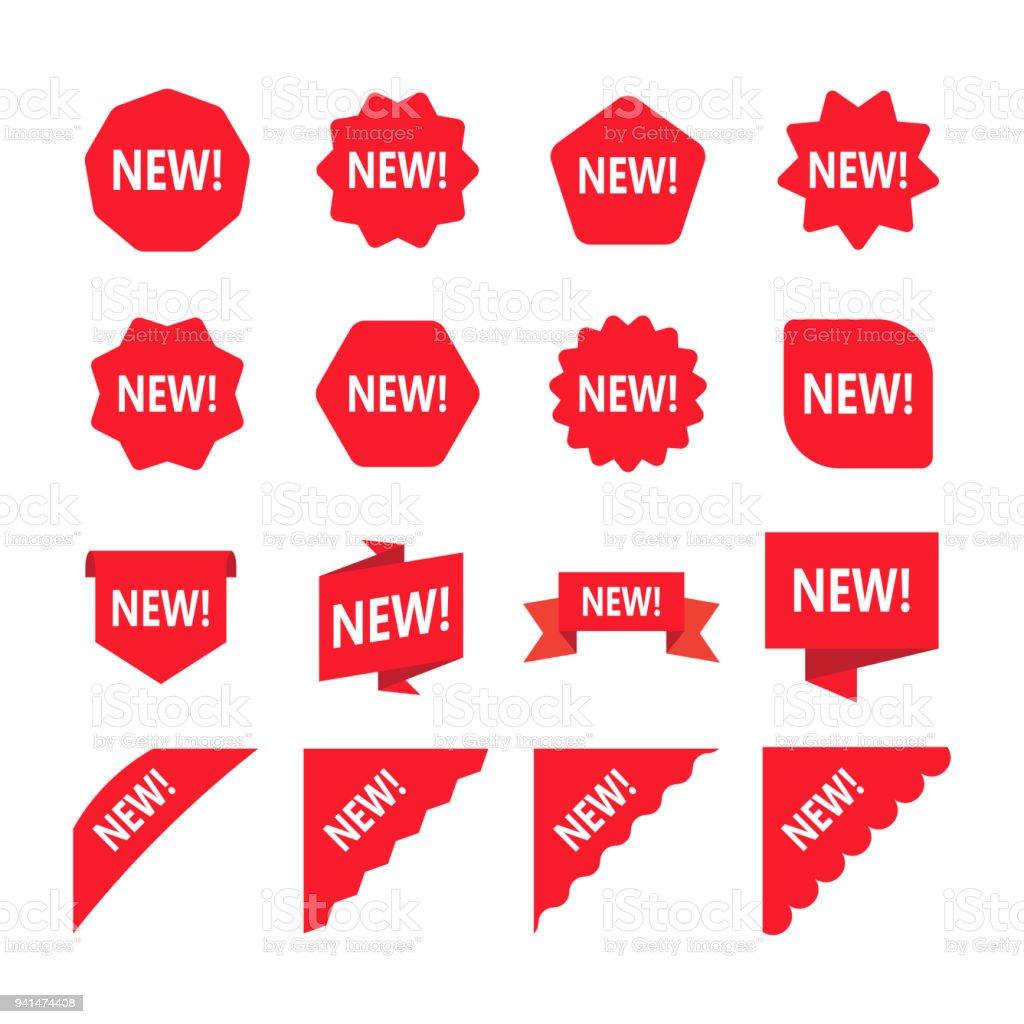 Étiquettes de promotion rouge avec le mot nouveau. Ensemble de nouvelle vignette. - Illustration vectorielle