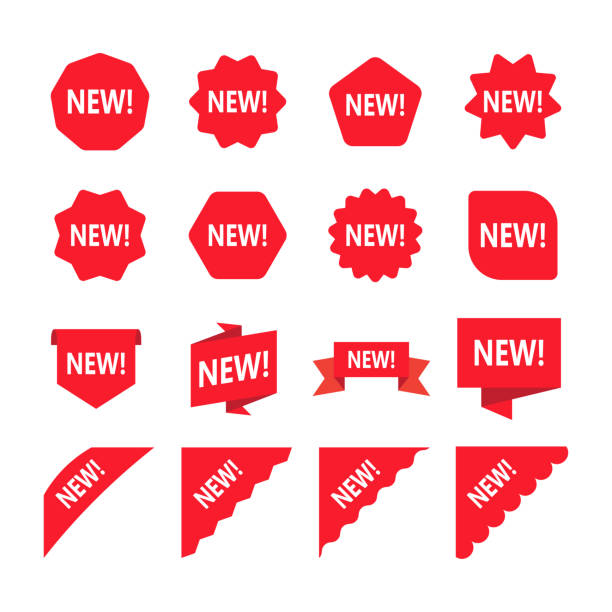 Red promotion labels with word new. Set of new sticker. Red promotion labels with word new. Set of new sticker. Vector illustration. Isolated on white background label stock illustrations