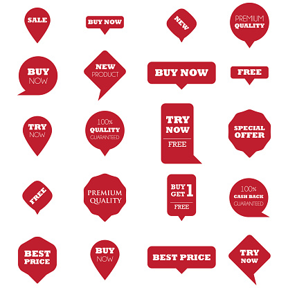 Red promotion pointers with text