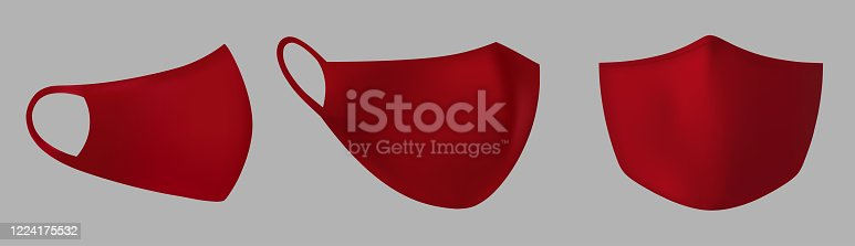 Red protective medical face mask