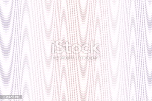 istock Red, purple watermark pattern. Light colored gradient. Zigzag curves. Vector abstract striped background. Guilloche design for money, banknote, diploma, certificate. EPS10 illustration 1234290361