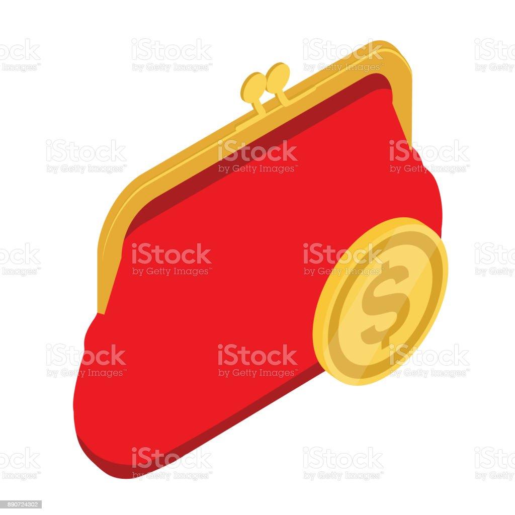Red purse vector vector art illustration