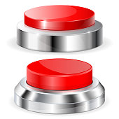 Red push buttons with metal base. Vector 3d illustration isolated on white background