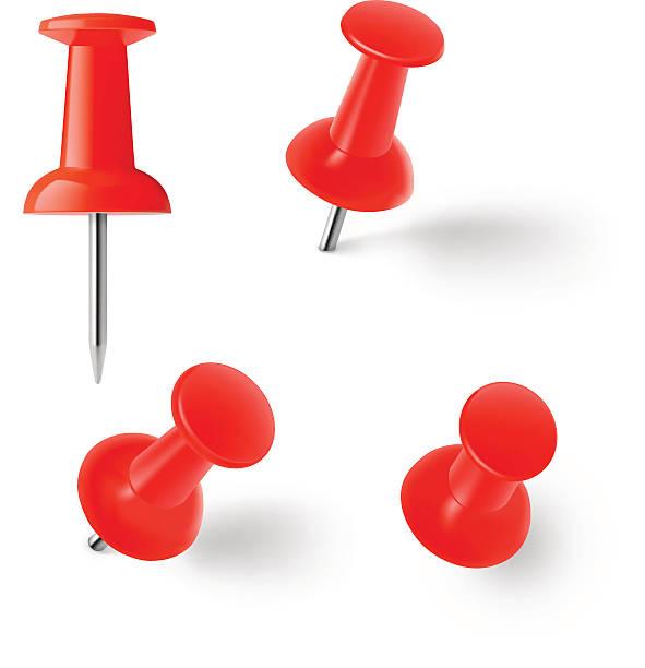 red push pins, isoliert auf weißem hintergrund. vektor-illustration - heftzwecke stock-grafiken, -clipart, -cartoons und -symbole