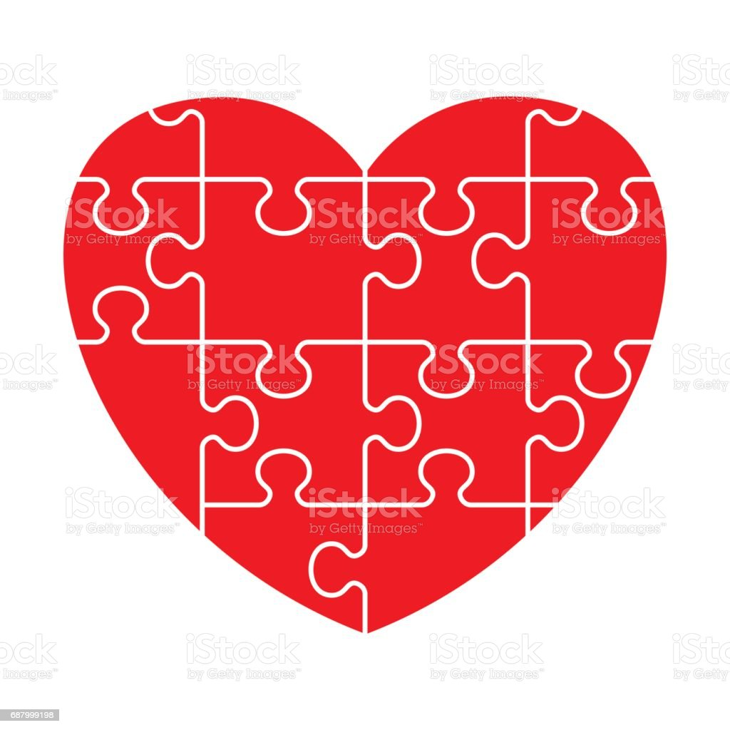 red puzzle heart vector art illustration
