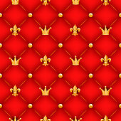 Red quilted texture with golden crowns, lilies and buttons. Royal symbols.