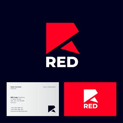 Red R monogram. Flat simple emblem. Business card.