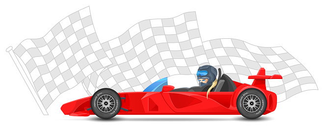 Red Race Car Side View Formula 1 On Sports Finish Flag ...