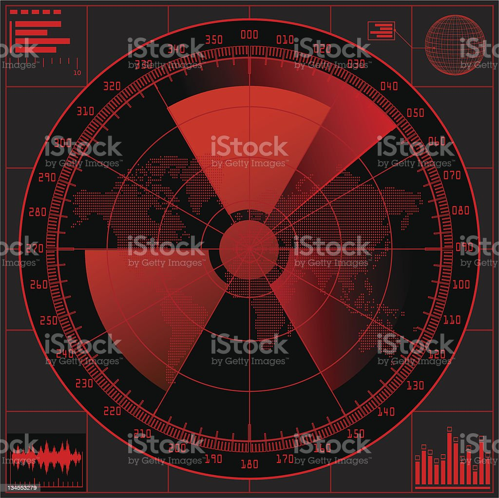 Red radar screen with radioactive sign. royalty-free stock vector art