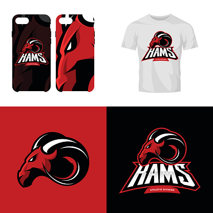 Red ram head sport club isolated vector icon concept.