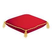 Red Realistic cushion for the crown on a white background