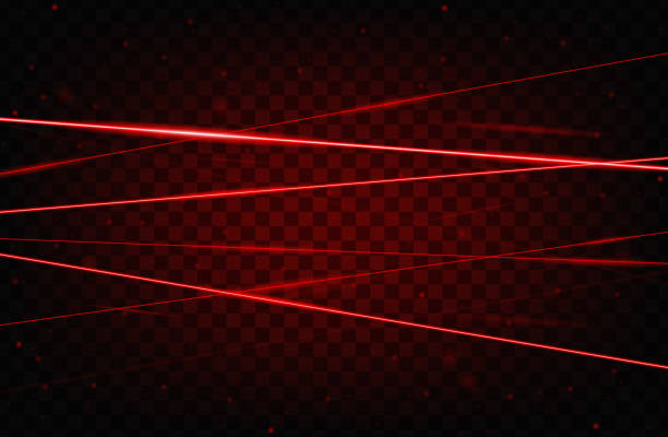 Red realistic laser beam background. Laser rays iolated on transparent background. Modern style abstract. Bright shiny lasers pattern. Vector illustration vector art illustration