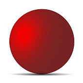Red realistic matte sphere isolated on white. Vector illustration for your design. Eps 10