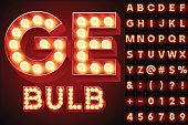 Red realistic old lamp alphabet for light board