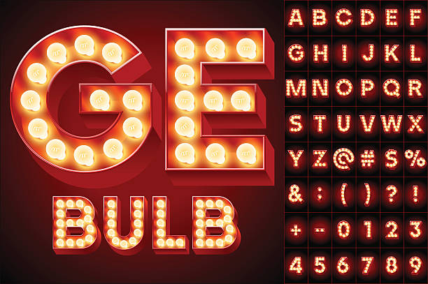 stockillustraties, clipart, cartoons en iconen met red realistic old lamp alphabet for light board - bord bericht