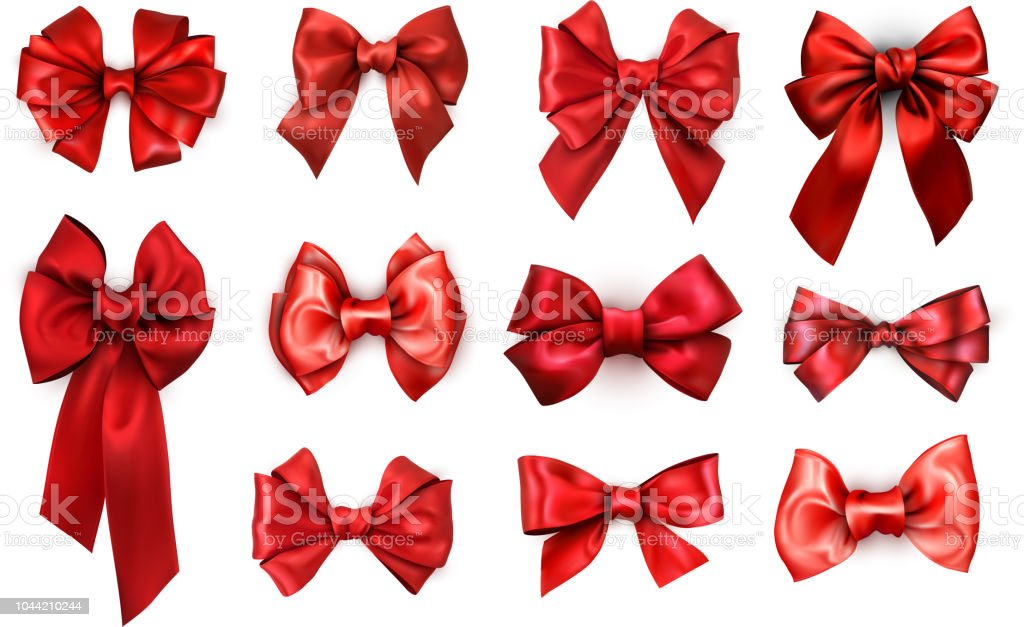 Red realistic satin bows isolated on white. vector art illustration