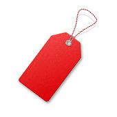 Red  realistic textured sell tag with rope. Vector design element.  Price vector label.