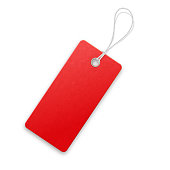 Red  realistic  textured  carton sell tag with rope.
