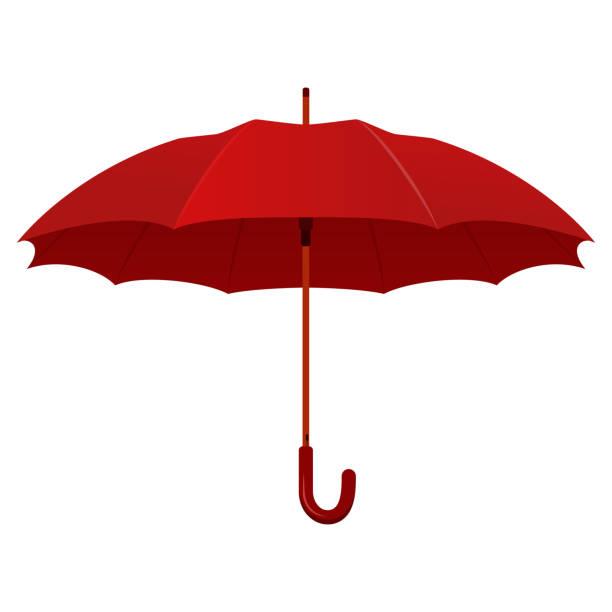 illustrazioni stock, clip art, cartoni animati e icone di tendenza di red realistic umbrella. vector illustration. - mockup outdoor rain