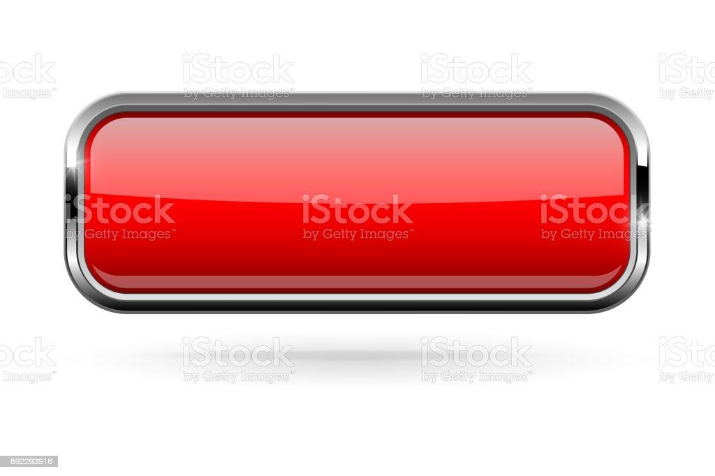 Ilustración de Botón Rectángulo Rojo Con Marco Cromado Audaz 3d ...