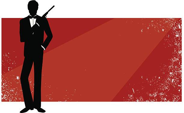 Red rectangular banner with James Bond in silhouette vector art illustration