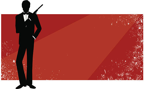 red rectangular banner with james bond in silhouette - heather mcgrath stock illustrations