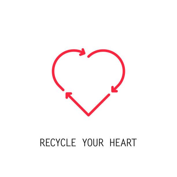 bildbanksillustrationer, clip art samt tecknat material och ikoner med röd återanvända hjärtan ikonen. återvinna kärlek. vektor - recycling heart