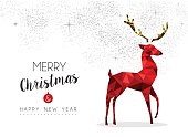 Merry Christmas and New Year elegant red color reindeer illustration in low poly style. EPS10 vector.