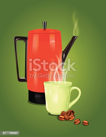 Red Retro Coffee Pot And Cup On Green