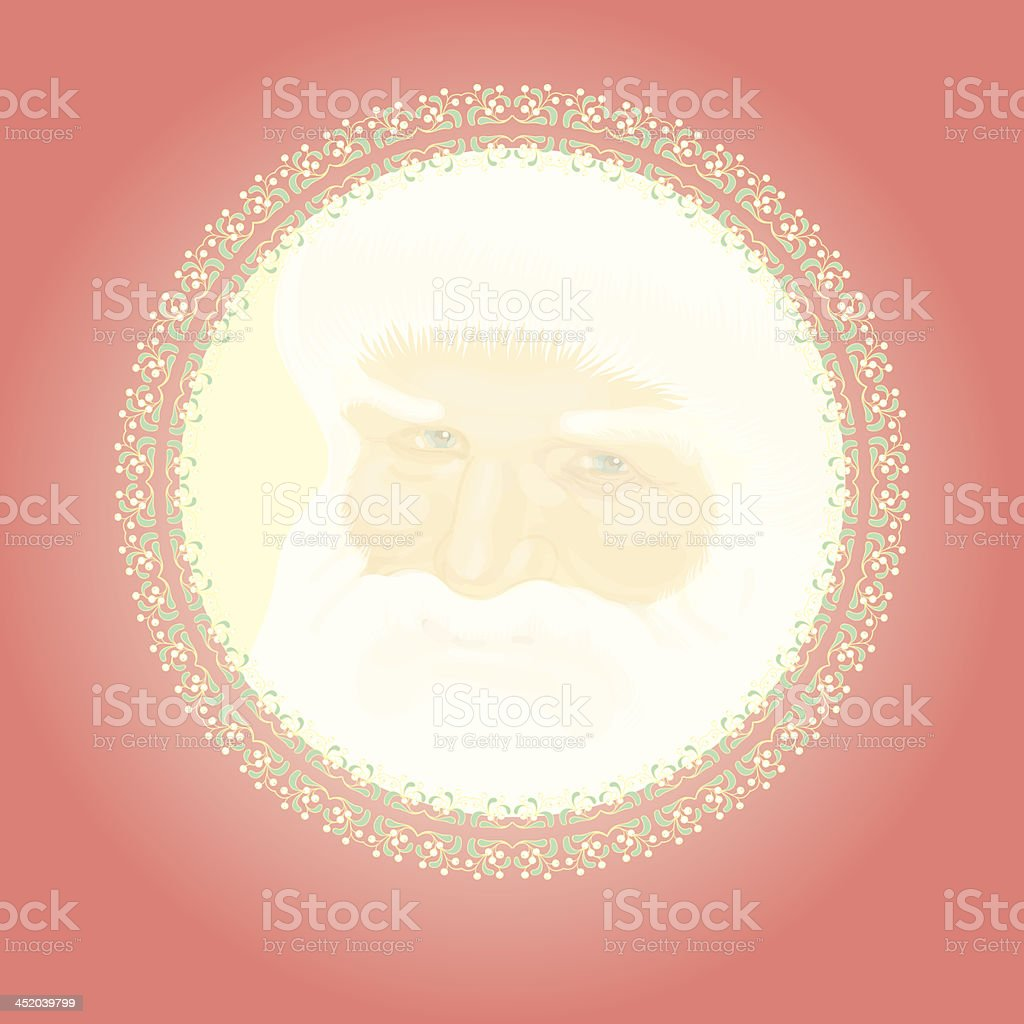 Red retro decoration with Father Christmas royalty-free stock vector art