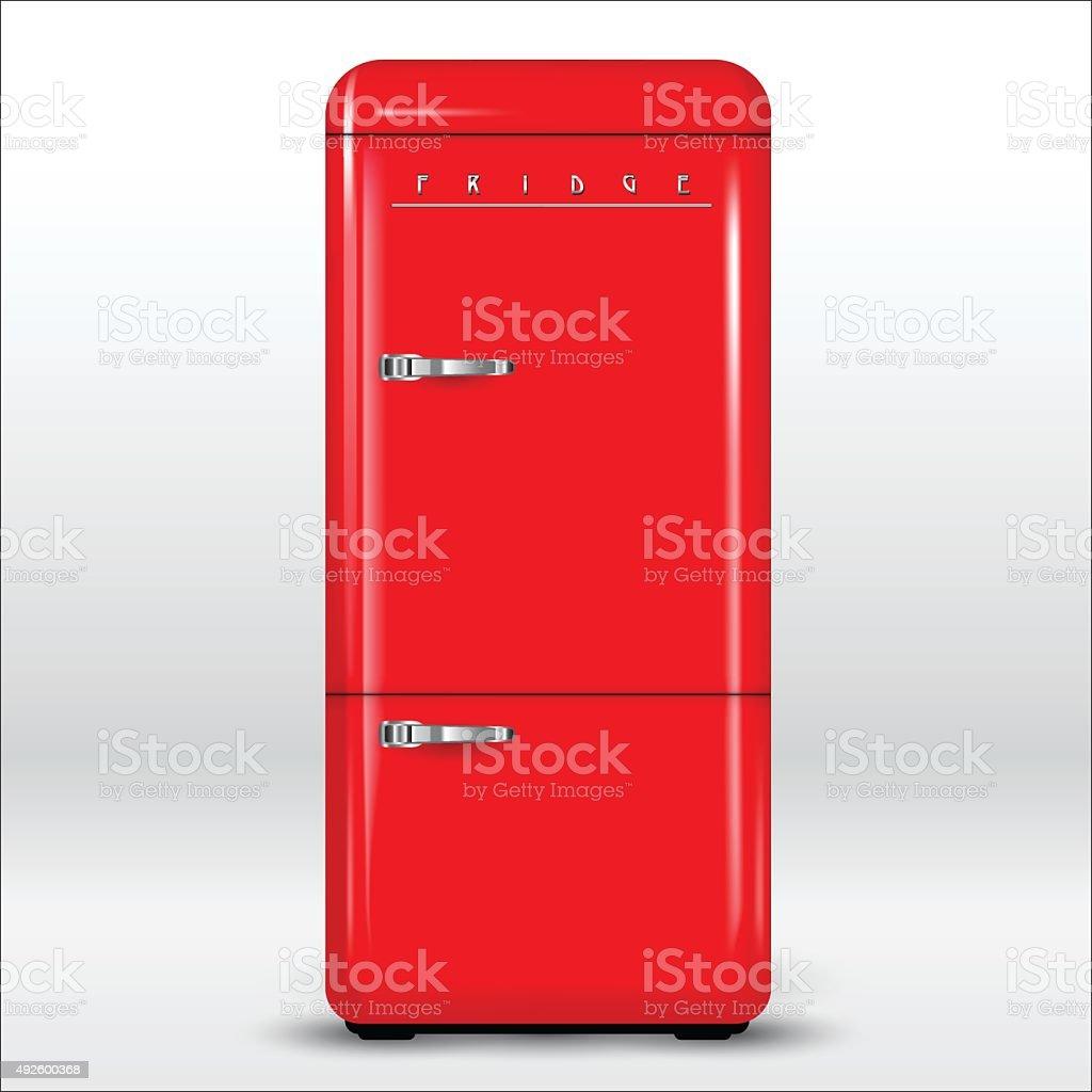 Roten Retrokühlschrank Vektor Illustration 492600368 | iStock