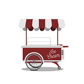 Red retro Ice-Cream Cart for your Design