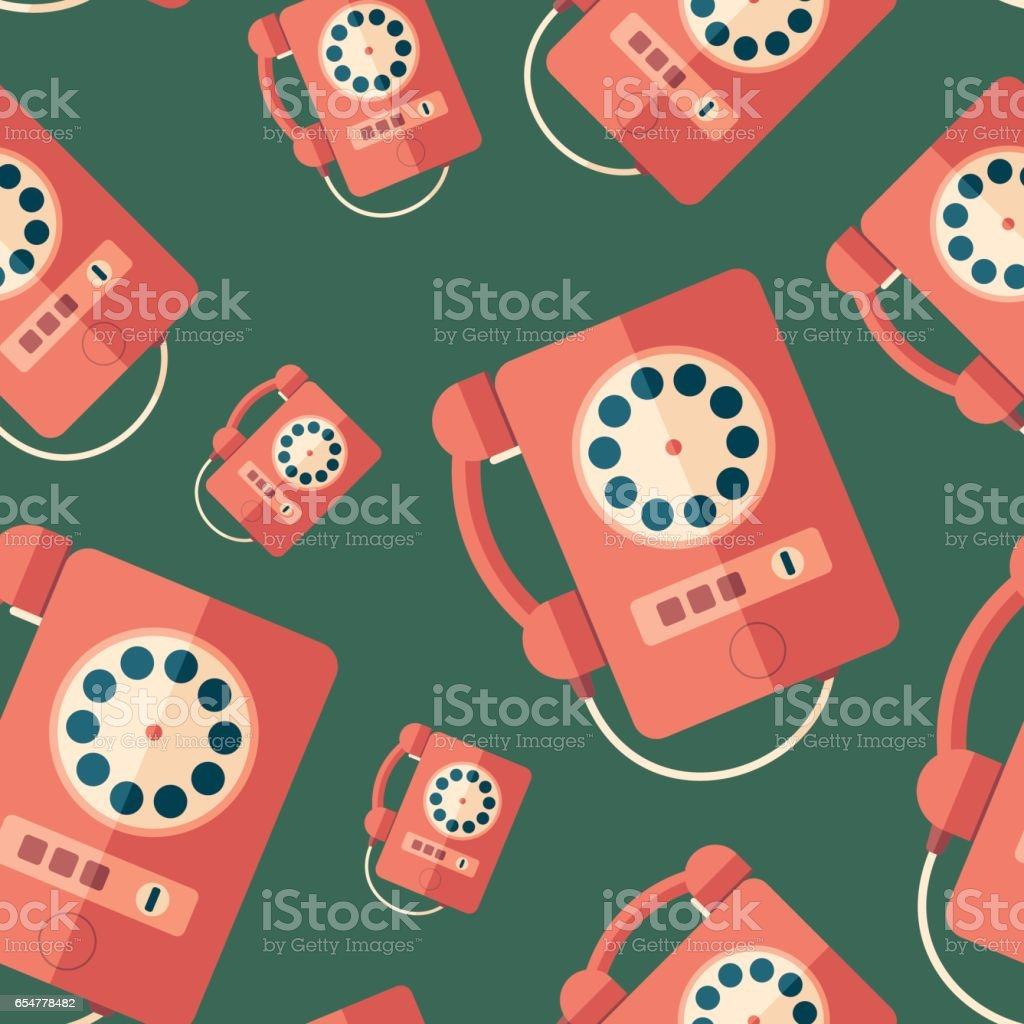 Red retro payphone flat icon seamless pattern. vector art illustration