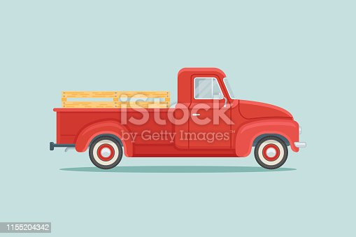Red retro pickup truck isolated on teal background. Flat style vector illustration.