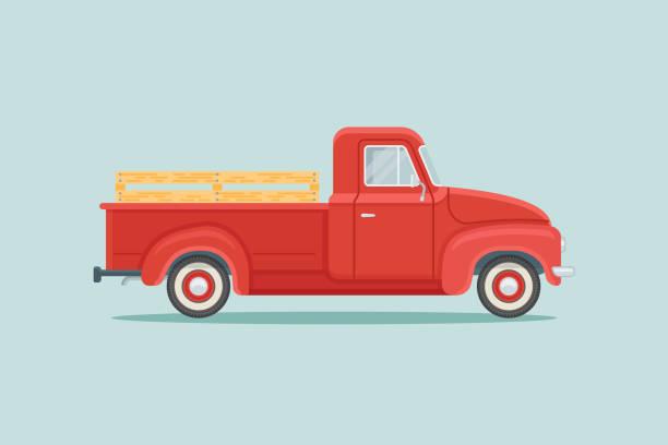 Red retro pickup truck flat style vector illustration vector art illustration