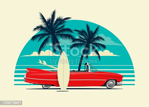 Red retro roadster car with surfing boards on the beach with palm silhouettes on background. Summer time themed vector eps 10 illustration for poster or card or t-shirt or sticker design.